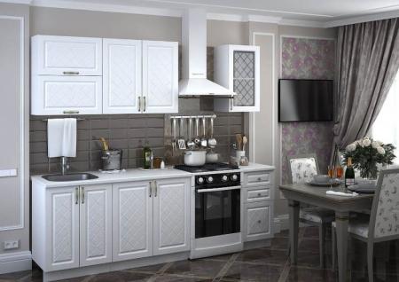 Кухонный гарнитур Мадена дуб белый 1,6 метра